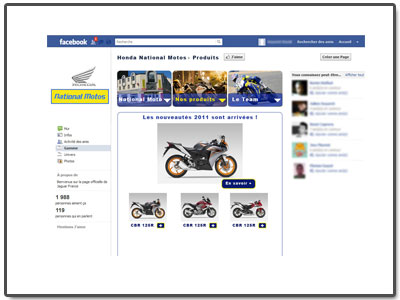 Application FaceBook Motos