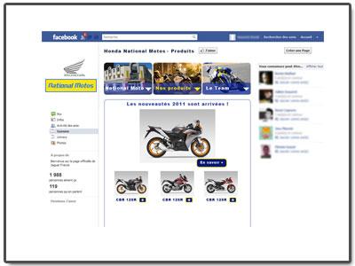 Application FaceBook Motos